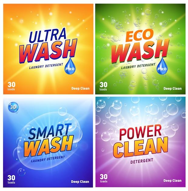 Concepto de embalaje de detergente que muestra limpieza y lavado ecológicos. paquete de detergente con logo ecológico. Vector Premium