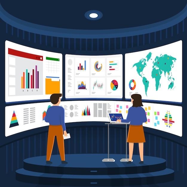 Concepto empresario análisis de datos digitales. ilustrar Vector Premium