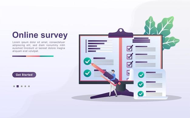 Concepto de encuesta en línea. las personas responden preguntas de encuestas en línea, encuestas de investigación, exámenes en línea, formularios de cuestionarios, cuestionarios de internet. diseño plano Vector Premium