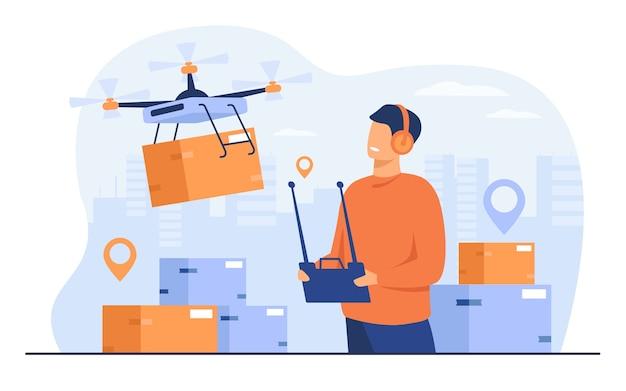 Concepto de entrega de drones. operador de entrega que controla el quadcopter con caja postal o de distribución, enviando la máquina móvil a la dirección de la ciudad. para envíos, tecnología moderna, temas de servicio. vector gratuito