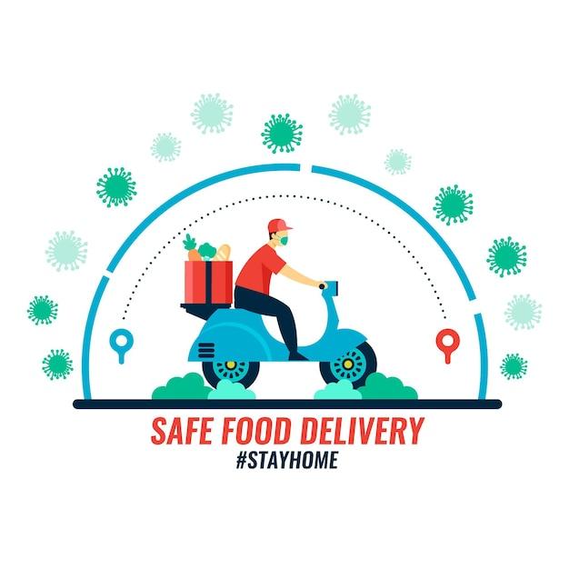 Concepto de entrega segura de alimentos vector gratuito