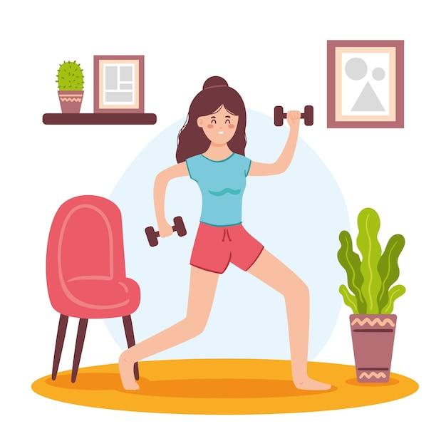 Concepto de entrenamiento en casa con pesas vector gratuito