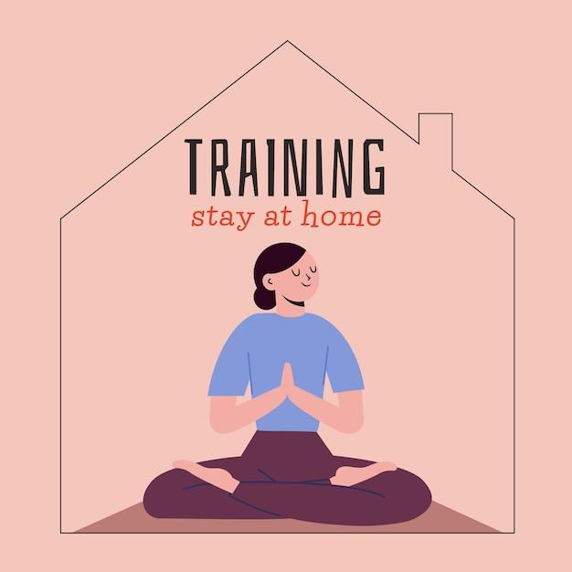 Concepto de entrenamiento en casa Vector Premium