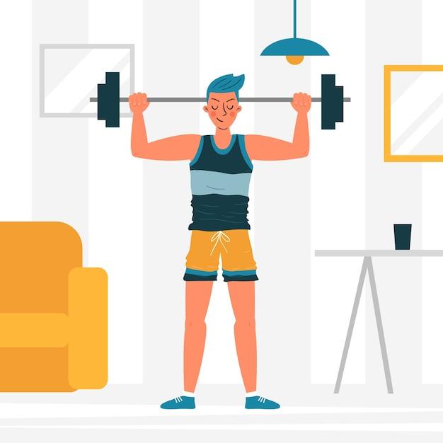 Concepto de entrenamiento en casa vector gratuito