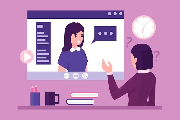 Concepto de entrevista de trabajo en línea vector gratuito