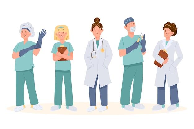 Concepto de equipo de profesionales de la salud vector gratuito