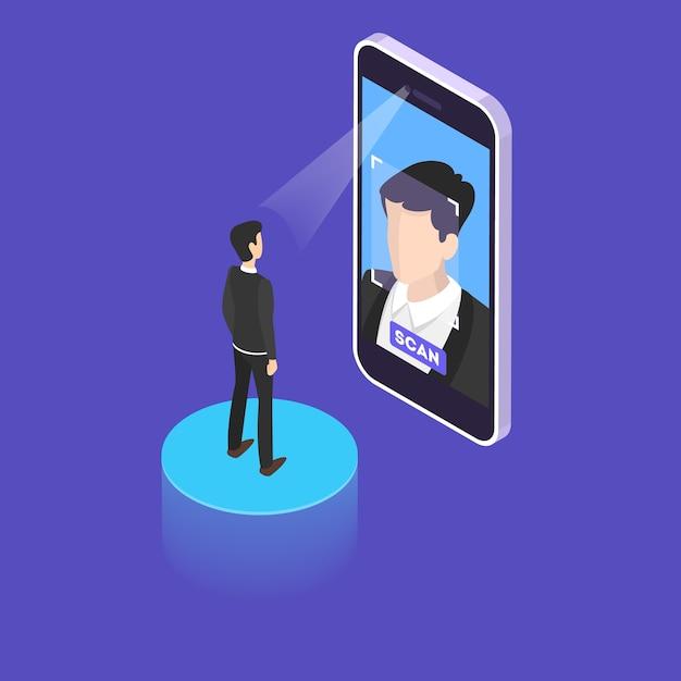 Concepto de escaneo facial. autenticación y verificación facial de acceso. procedimiento de protección de datos. ilustración isométrica Vector Premium