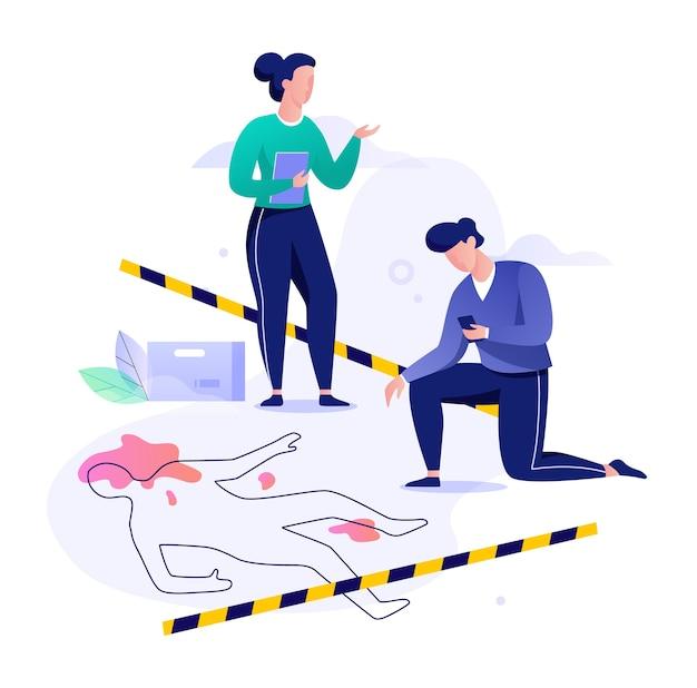 Concepto de escena del crimen. detective haciendo investigación, oficial de policía. misterio criminal. ilustración con estilo Vector Premium