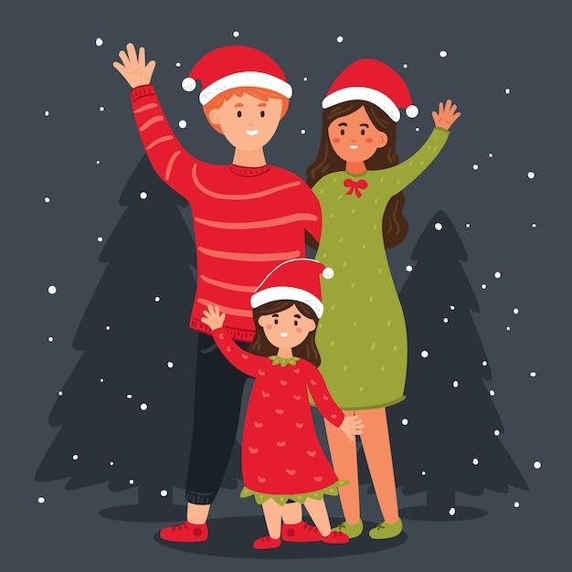 Concepto de escena familiar de navidad dibujado a mano vector gratuito