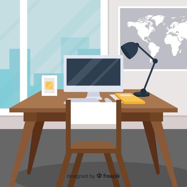 Concepto de espacio de trabajo en diseño flat vector gratuito