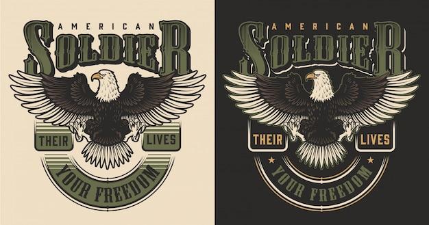 Concepto de estampado de camiseta militar vector gratuito