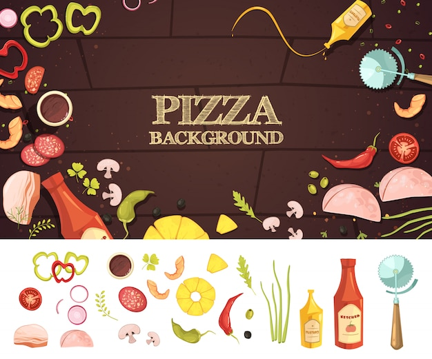 Concepto de estilo de dibujos animados de pizza con ingredientes sobre fondo marrón vector gratuito
