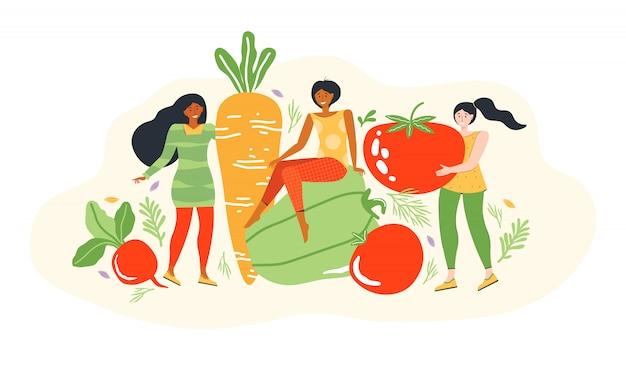 Concepto de un estilo de vida saludable y nutrición dietética. grupo de  pequeñas mujeres jóvenes junto a verduras grandes. personaje de dibujos  animados femenino dieta y alimentación saludable. ilustración plana moderna  |