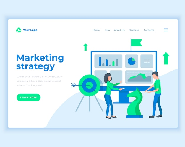 Concepto de la estrategia de marketing de la plantilla de la página de aterrizaje con la gente de la oficina. Vector Premium