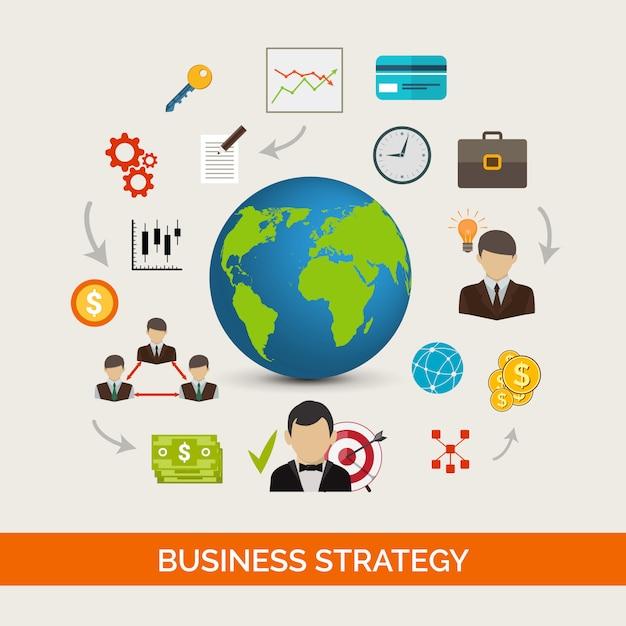 Concepto de estrategia de negocio vector gratuito