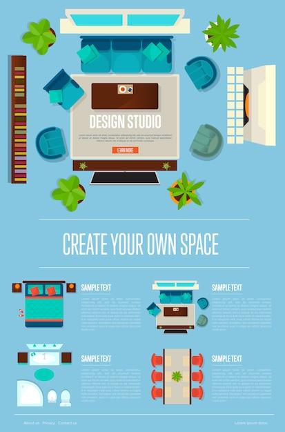 Concepto de estudio de diseño con apartamento con vista superior Vector Premium