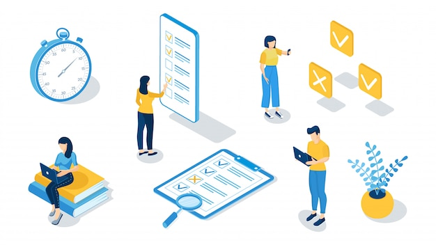 Concepto de examen en línea, pruebas en línea, formulario de cuestionario, educación en línea, encuesta, cuestionario en internet. ilustración vectorial isométrica Vector Premium