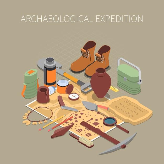 Concepto de expedición arqueológica con restos antiguos y símbolos de artefactos isométricos vector gratuito