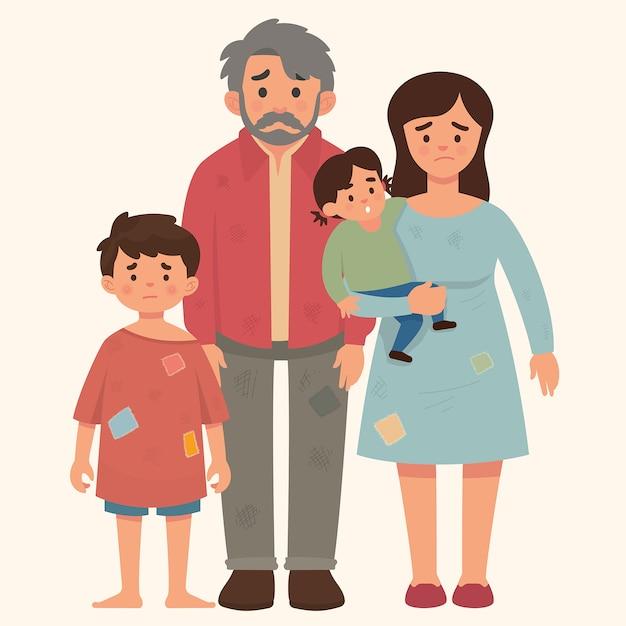 Concepto de familia pobre, padre, madre y niños en mal estado. Vector Premium