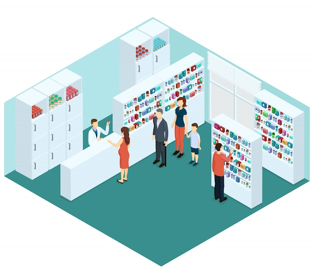 Concepto de farmacia isométrica colorido vector gratuito