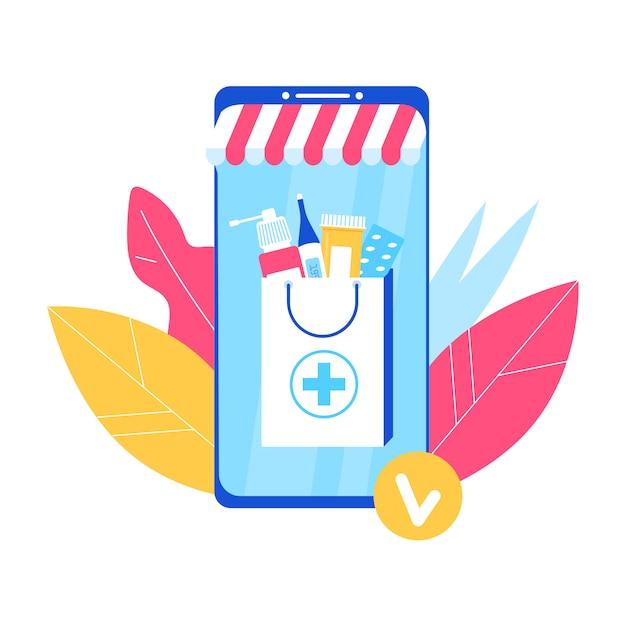 Concepto de farmacia en línea. smartphone con medicina - pastillas, parche,  termómetro. | Vector Premium
