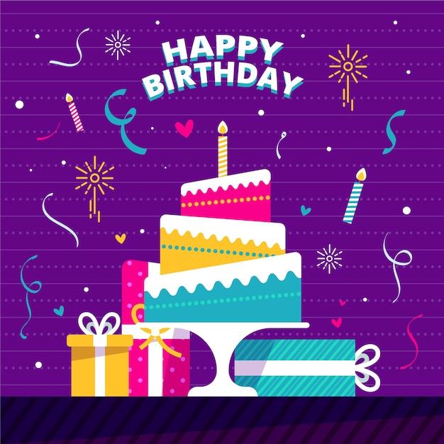 Concepto de feliz cumpleaños de diseño plano vector gratuito