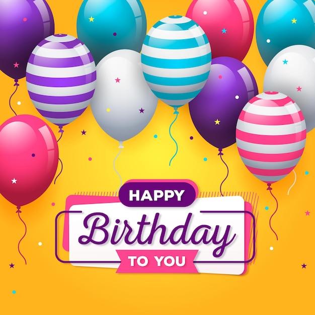 Concepto de feliz cumpleaños con globos vector gratuito