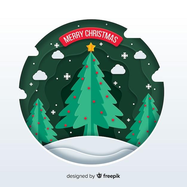 Concepto de feliz navidad en papel vector gratuito