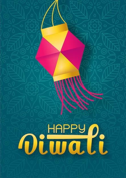 Concepto festival diwali con linterna de papel y letras feliz diwali sobre fondo verde indio Vector Premium