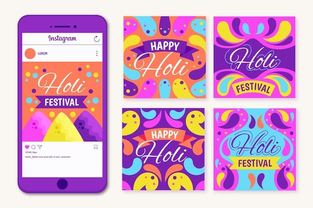 Concepto de festival holi para publicación de instagram vector gratuito
