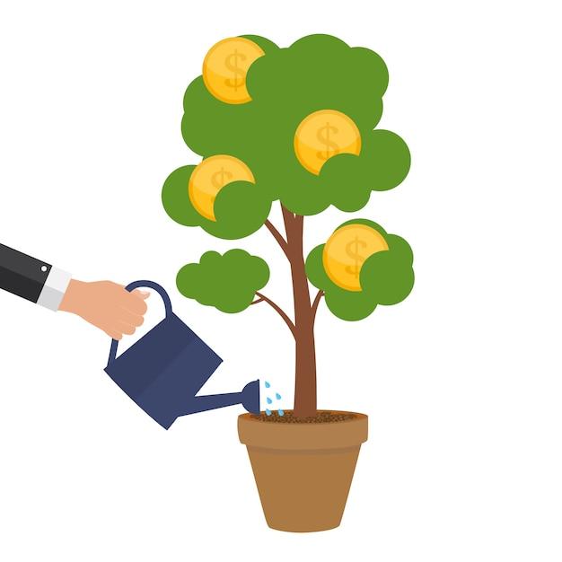 Concepto financiero árbol de dinero - símbolo de negocio exitoso. ilustración Vector Premium