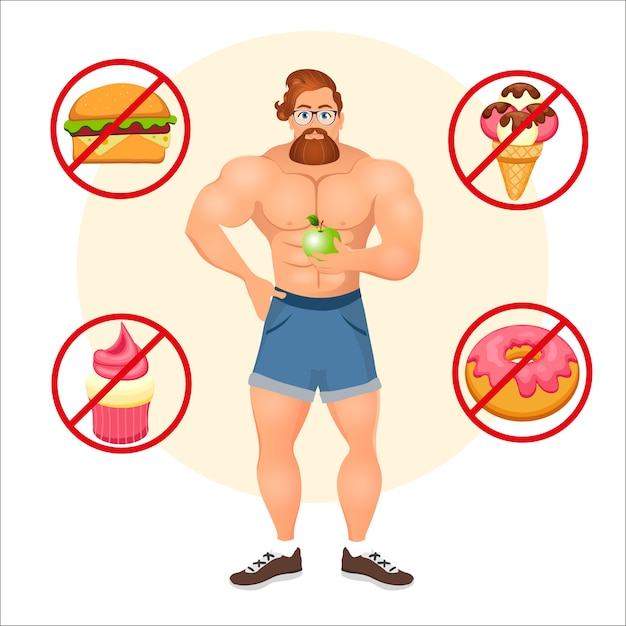 Concepto de fitness con culturista deportivo hipster barbudo con gafas y pelo rojo. modelos de fitness muscular. alimentos útiles y nocivos. ilustración vectorial aislado Vector Premium