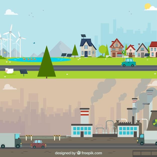 Concepto flat del ecosistema y contaminación vector gratuito
