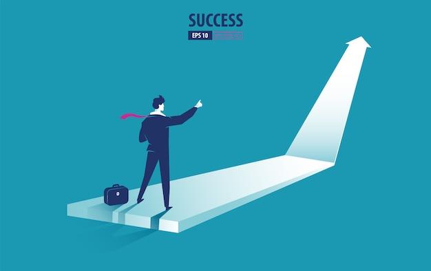 Concepto de flecha de negocios con empresario en flecha apuntando hacia el éxito. crecer gráfico aumentar ganancias ventas e inversiones. vector de fondo Vector Premium