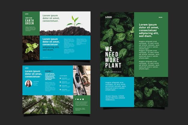 Concepto de folleto ambiental vector gratuito