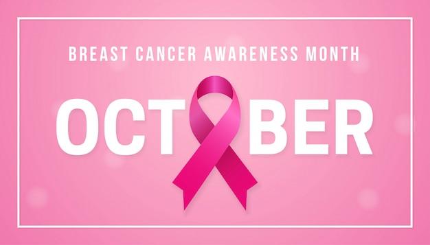 Concepto de fondo de cartel de mes de conciencia de cáncer de mama de octubre Vector Premium