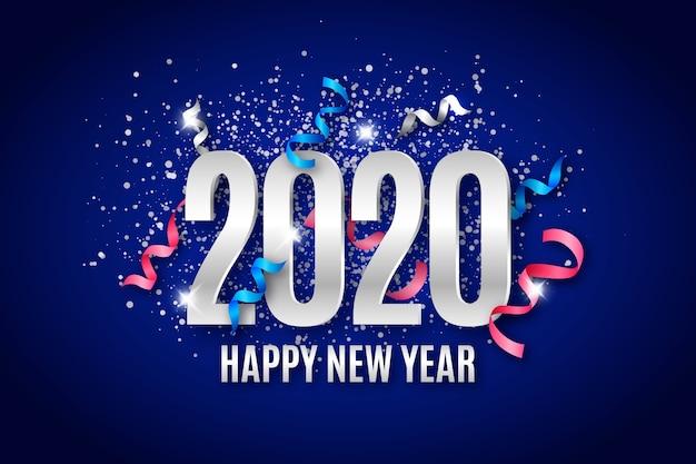 Concepto de fondo de confeti año nuevo 2020 vector gratuito