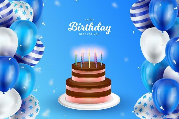 Concepto de fondo de cumpleaños realista vector gratuito