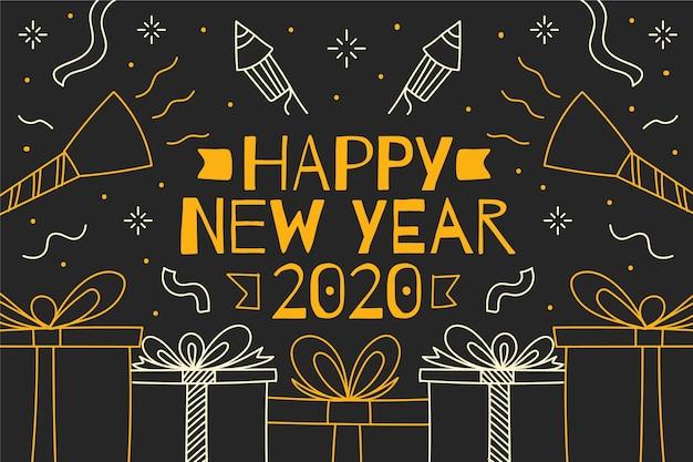 Concepto de fondo dibujado a mano año nuevo 2020 vector gratuito
