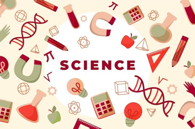 Concepto de fondo de educación científica vintage vector gratuito