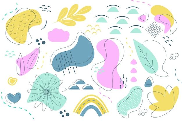 Concepto de fondo de formas orgánicas abstractas dibujadas a mano vector gratuito