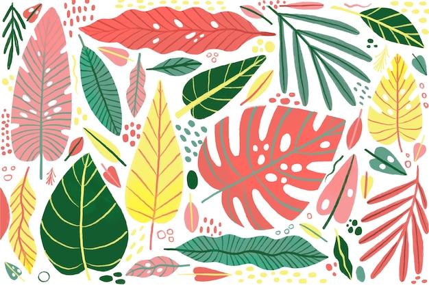 Concepto de fondo de hojas tropicales vector gratuito