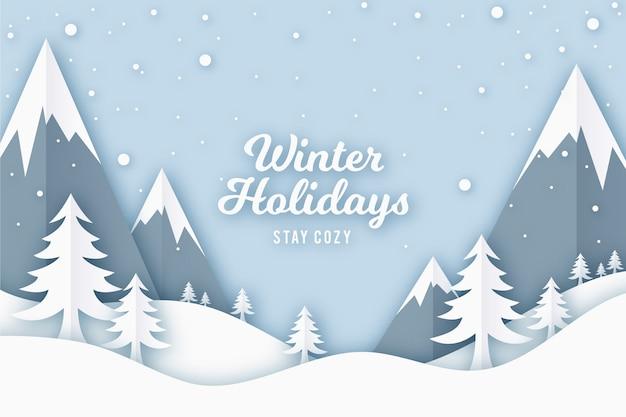 Concepto de fondo de invierno en estilo de papel Vector Premium