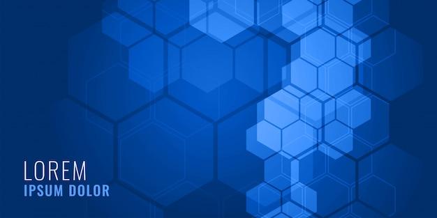 Concepto de fondo médico azul forma hexagonal vector gratuito