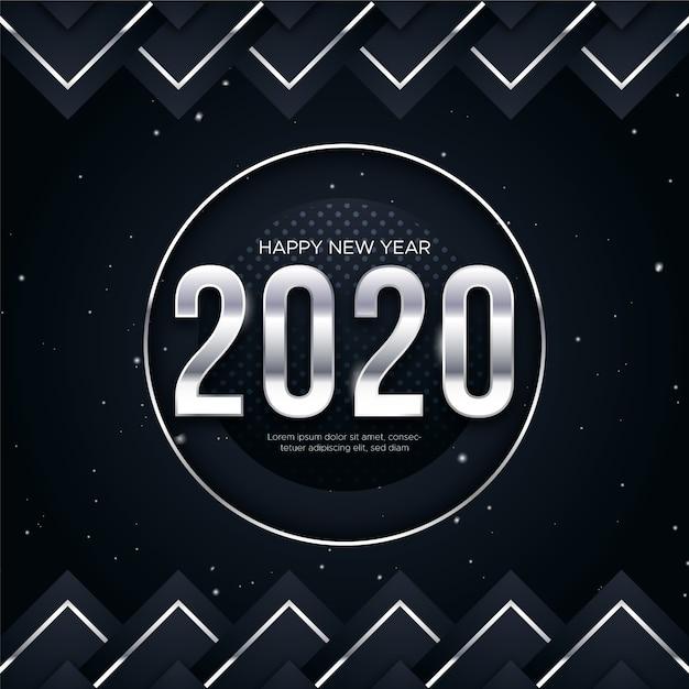 Concepto de fondo de plata año nuevo 2020 vector gratuito