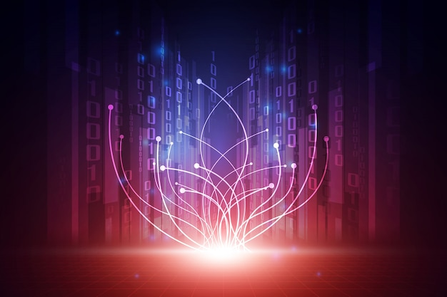 Concepto de fondo de tecnología futurista abstracto de vector Vector Premium