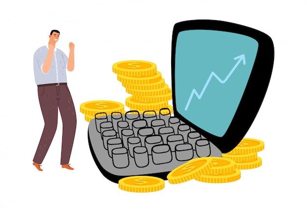 Concepto freelance exitoso Vector Premium