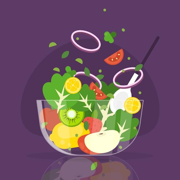 Concepto de frutas y ensaladeras vector gratuito