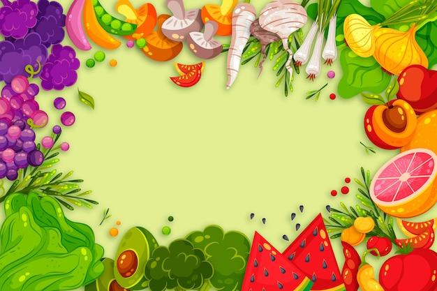 Concepto de frutas y verduras para fondo de pantalla vector gratuito