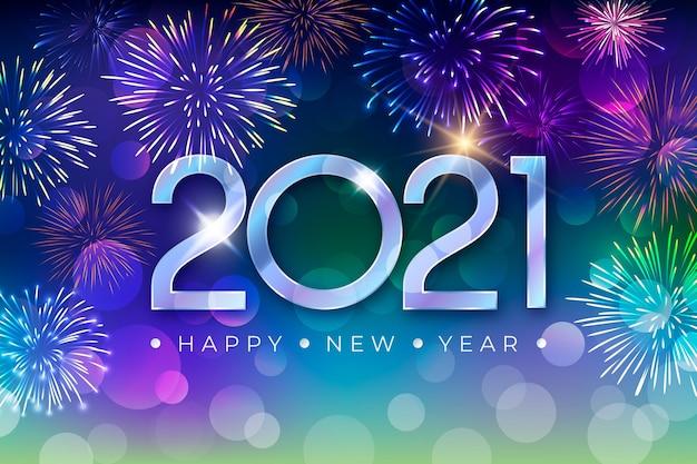 Concepto de fuegos artificiales año nuevo 2021 Vector Premium